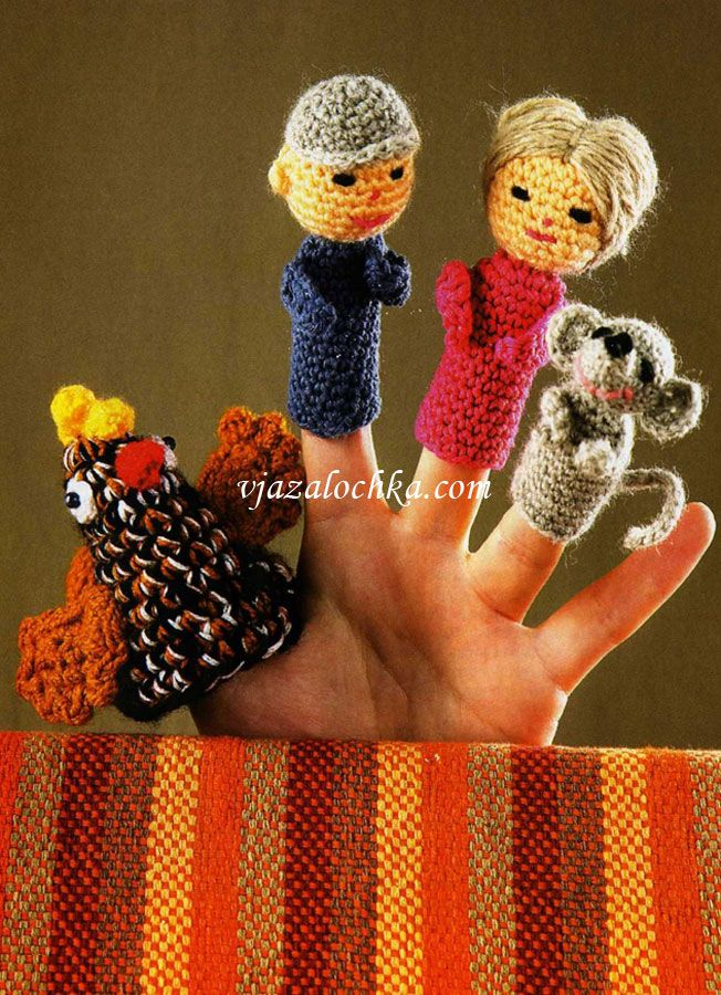 Пальчиковый театр Курочка ряба Crocheted Finger Puppets - Pattern in Russian