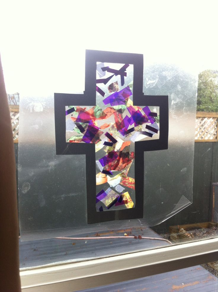 Easter Cross Craft Stained Glass Window This Is What We
