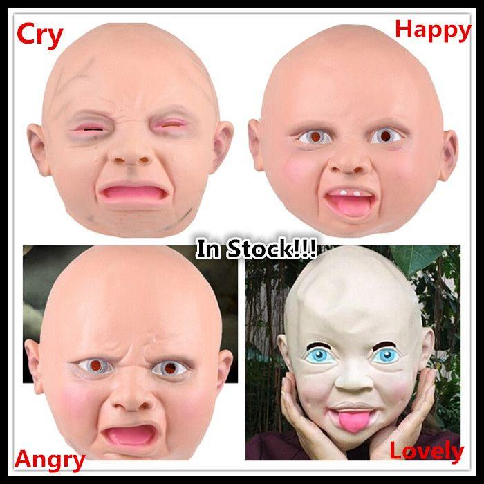 Kostenloser versand Party Halloween Cosplay Kostüm Creepy Cry glückliches Baby Latex kind Maske Partei Kostüm Zubehör Halloween Baby Maske(China (Mainland))
