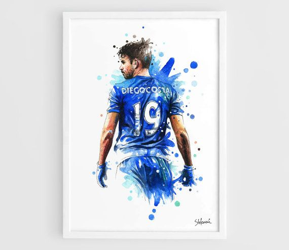 Diego Costa Chelsea FC - A3 Wall Art Print Poster of the Original Watercolor Painting Football Poster Soccer Poster by NazarArt