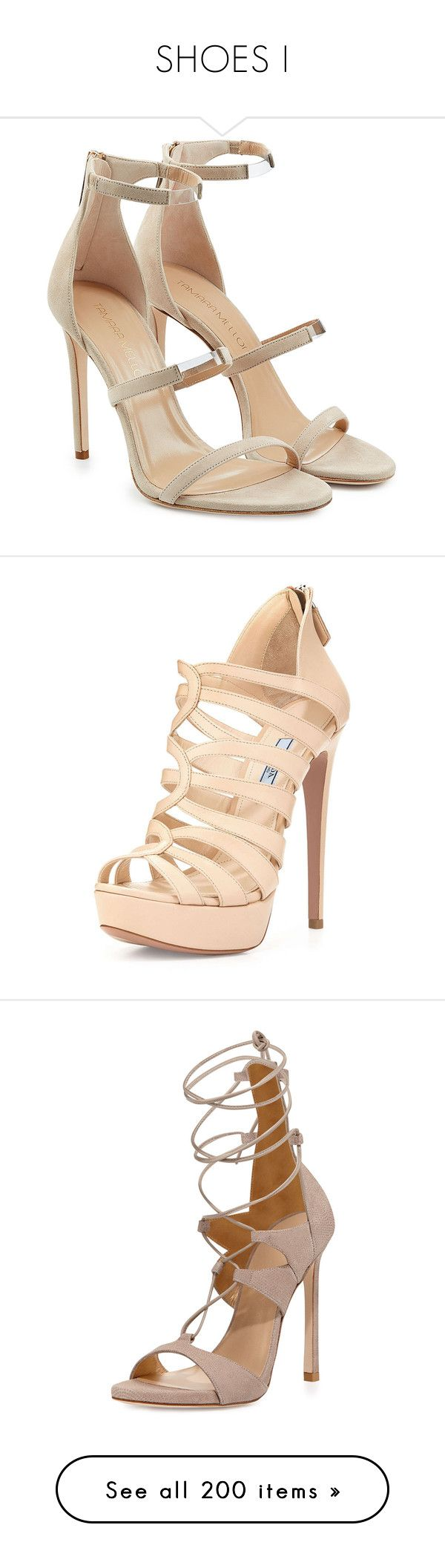 """""""SHOES I"""" by wanda-india-acosta ❤ liked on Polyvore featuring shoes, sandals, heels, schuhe, tamara mellon, beige, strappy stiletto sandals, beige strappy sandals, beige high heel sandals and strappy heel sandals"""