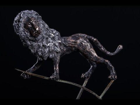 The Nemean Lion - Hercules's first labor - an elegant lion bronze sculpture