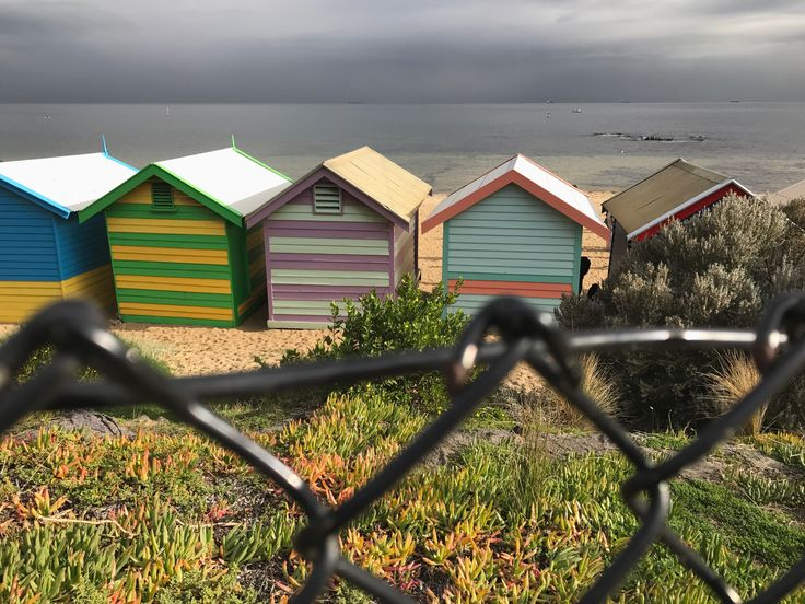 There's always a patch of colour on the greyest of winter days, behind every fence, if you just look for it. I took this photo from behind the Brighton beach boxes today since the front was swarming with people taking their own happy snaps! 😄 How's your day going? Hope it's as colourful as this!  #brightonbeachboxes #brightonbeach #brighton #victoria #visitvictoria #australia #colourpop #colourful #colour #winter #beach #beachlife