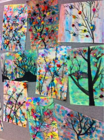 Art at Becker Middle School could we modify for kidergarten???? so pretty for spring