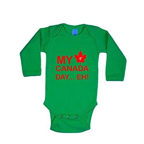 My 1St Canada Day? Eh Cotton Long Sleeve Baby Bodysuit One Piece Kelly Green Newborn
