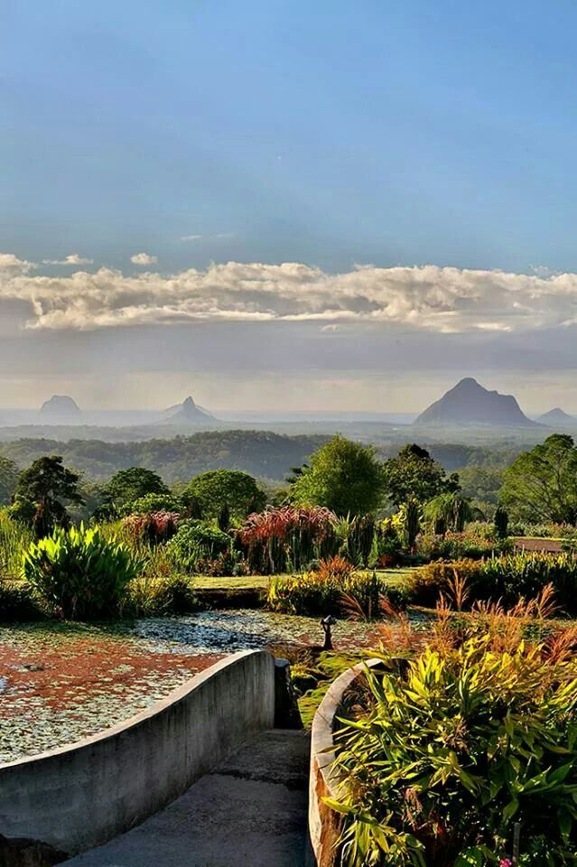 Maleny Botanic Gardens provide a great view of the majestic Glasshouse Mountains,  Sunshine Coast, QLD.