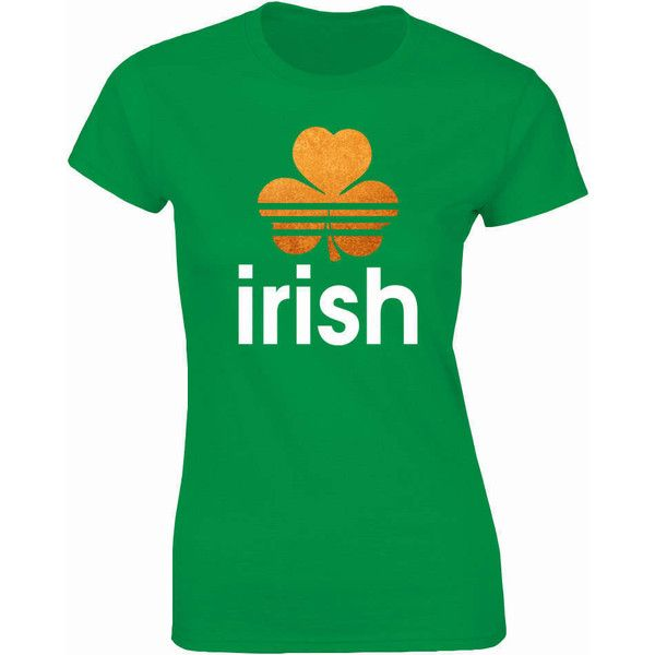 Irish Adidas Style Ladies Green T-Shirt With Shamrock for St Patrick's... ($14) ❤ liked on Polyvore featuring tops, t-shirts, grey, women's clothing, green top, gray top, grey top, green t shirt and gray tees