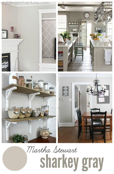 """Martha Stewart """"Sharkey Gray"""" - a really incredible """"greige"""" color (gray/beige). Love that it doesn't have pink, purple or blue undertones. Click through to see more beautiful examples + 2016's best neutral paint colors!"""