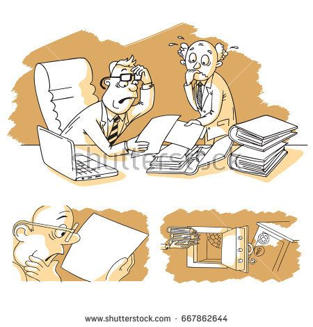 Accountant presents company annual financial report balance sheet statement for a senior businessman. Concept images of business audit. Keeping documents into safe box. Vector graphic illustration..