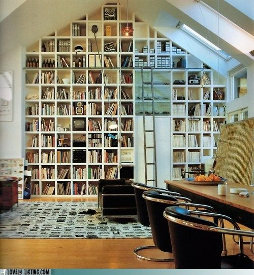 Floor to ceiling bookcase.