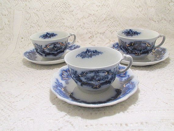 Flow blue cups and saucers WH Grindley Alaska c1891 to1914 lot of 3