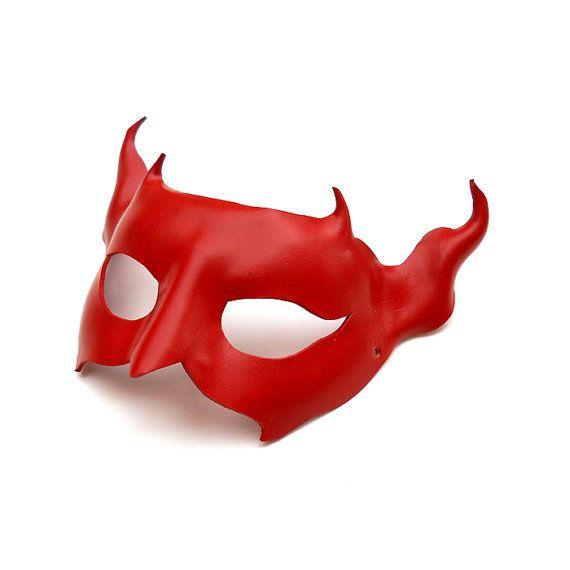 Leather Mask Red Devil Satan Masquerade Venetian by LMEmasks