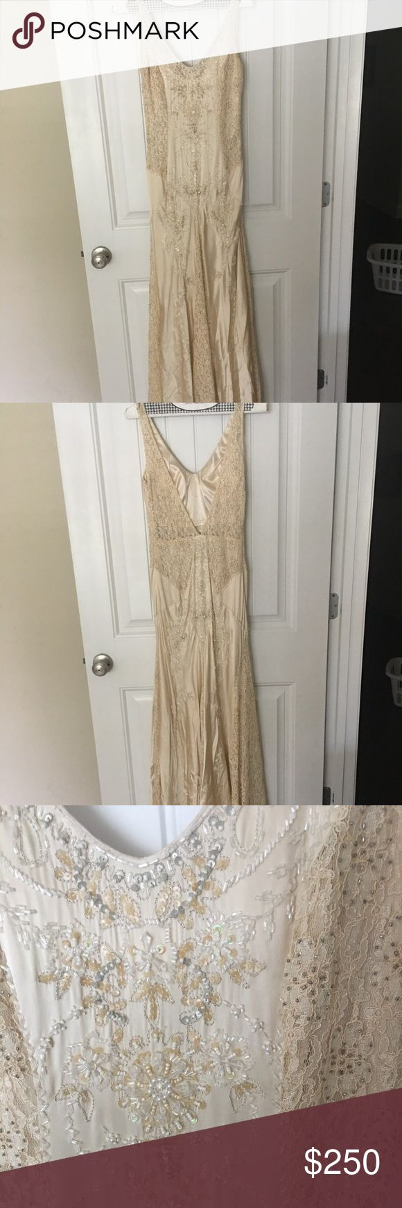 Sue Wong gown and silk wrap Gown is silk with lace and beading details, size 6. Never worn, tags still on, lace on very bottom shows a little wear. Comes with matching silk wrap. Sue Wong Dresses Wedding