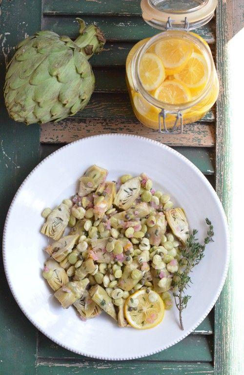 Baby Artichokes & Lima Beans in White Wine, Moroccan Meyer Lemon Preserves, Saffron & Capers Sauce