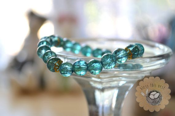 Sea Green Glass Bead Bracelet with Gold Accents