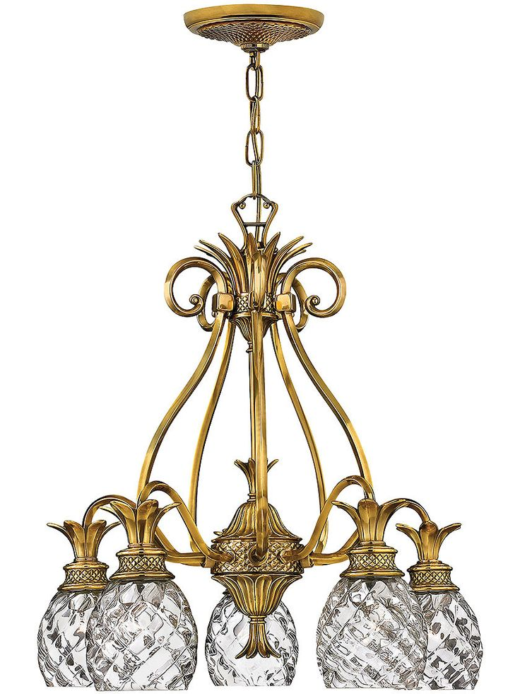 Plantation 5 Light Chandelier With Clear Optic Glass