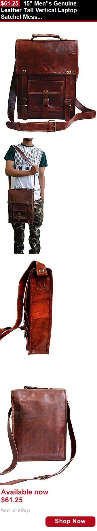 Men accessories: 15 Mens Genuine Leather Tall Vertical Laptop Satchel Messenger Bag Briefcase BUY IT NOW ONLY: $61.25
