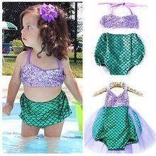 Princesse bébé filles petite sirène paillettes Bikinis maillots de bain Costume Outfits2-5T(China (Mainland))