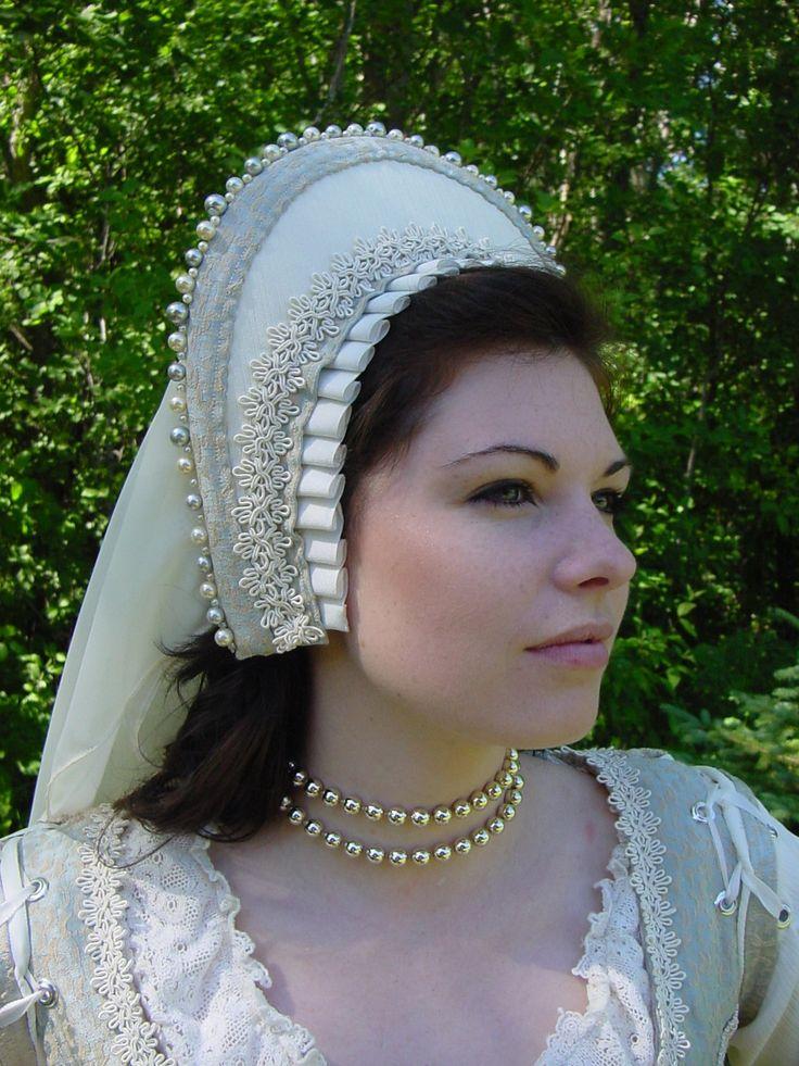 Renaissance Tudor Court Boleyn French 1500s Hood headpiece with beading CUSTOM. $120.00, via Etsy.