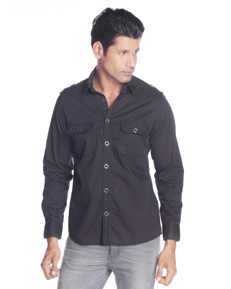 INDIGO NATION MEN GREY CASUAL SHIRT     Score every time with this cool and fresh cotton wire shirt with epaulettes at shoulders from Indigo Nation. This quality shirt is a perfect staple item for updating your wardrobe items.