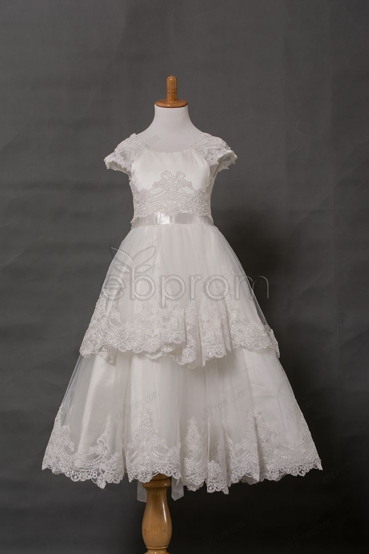 Cap sleeves tiered lace holy first communion dress calf for Making baptism dress from wedding gown