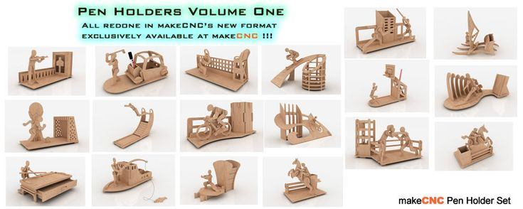 Now on Sale !  Pen Holders Volume One  Ready to cut downloadable Patterns and Projects for your CNC Router, Milling Machine, Plasma Cutter or Laser Machine and Scroll Saw in both Imperial Inch format as well as Metric size for the Global CNC Hobbyist.  SAVE OVER 50 % ON SINGLE PRODUCT PURCHASES  Simply Astounding Value for Such a High Quality Set of Products !!!  Click details for more information