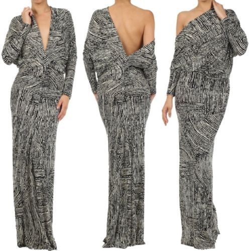 MULTI WAY Reversible PLUNGING Convertible MAXI DRESS Off Shoulder CRUISE Resort