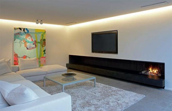 long low fireplace - the hearth / plinth sits out proud from the ...