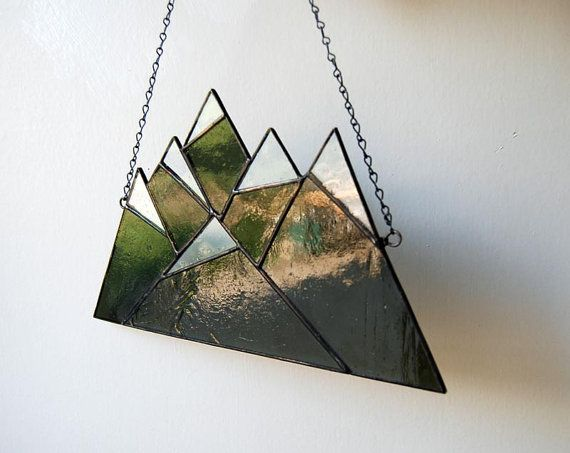 Army Green Mountain Range  Stained Glass by FCStainedGlass on Etsy