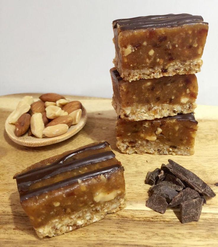 Healthy Peanut Caramel Slice