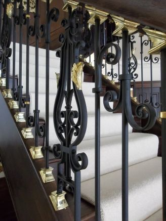Wrought iron with brass leaves -staircase