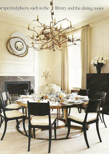 Marie-Chantal of Greece London townhouse by Francois  Catroux. Lalanne chandelier, Robsjohn Gibbings for Saridis chairs, bronze and madcassar dining table, Van Der Straeten mirror. House and Garden Nov 2006