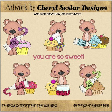 Tall #Bears Sweet #Cupcakes #Clipart