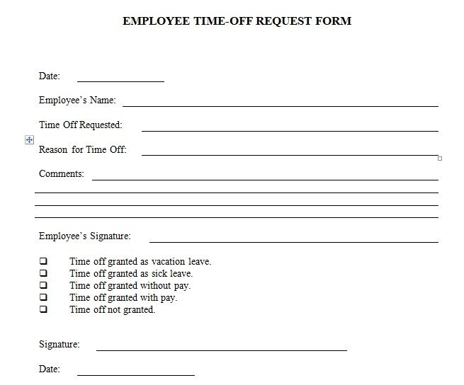 Employee time off request form template excel and word Company - software request form