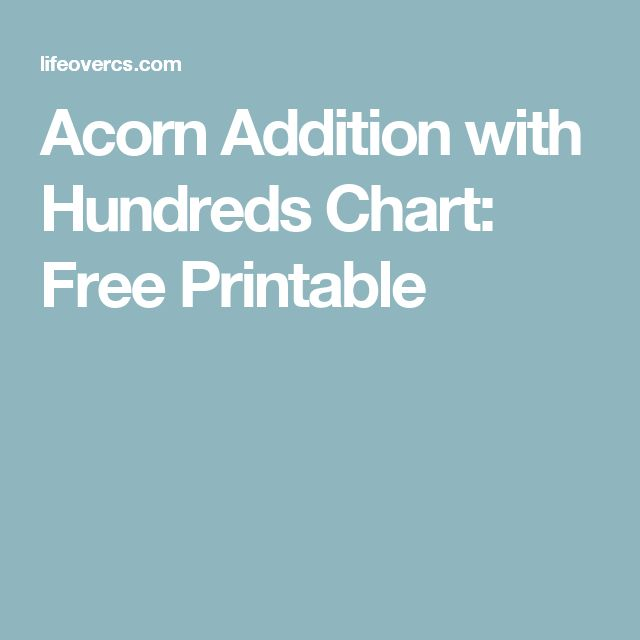 Acorn Addition with Hundreds Chart: Free Printable