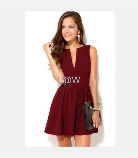 Sexy sleeveless deep v neck high waist dress shoulder for Red wedding guest dresses