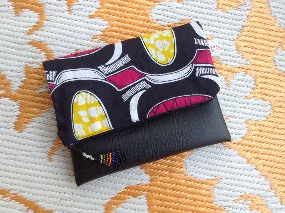African Wax Print Clutch Bag  Beautiful Pink Makoti by ChangNoii
