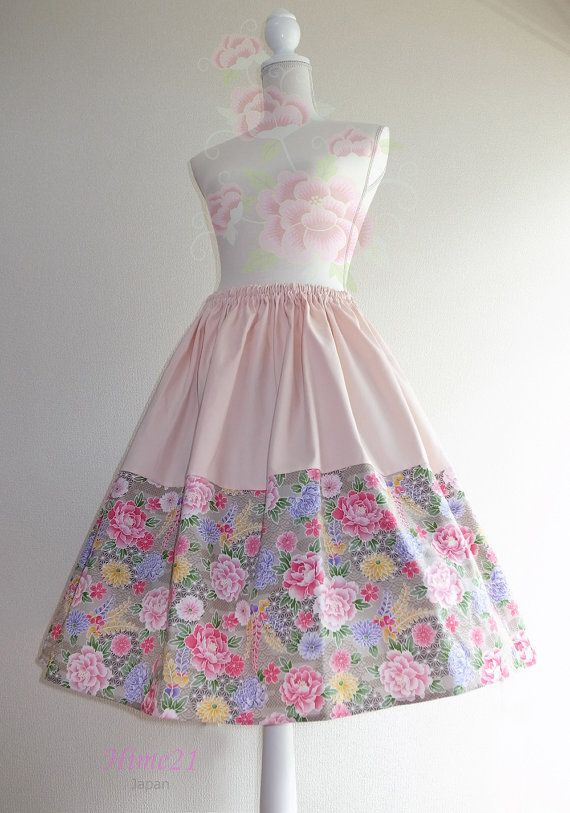 Japanese pattern cotton Skirt Baby pink and Beige flower by Hime21, ¥5500