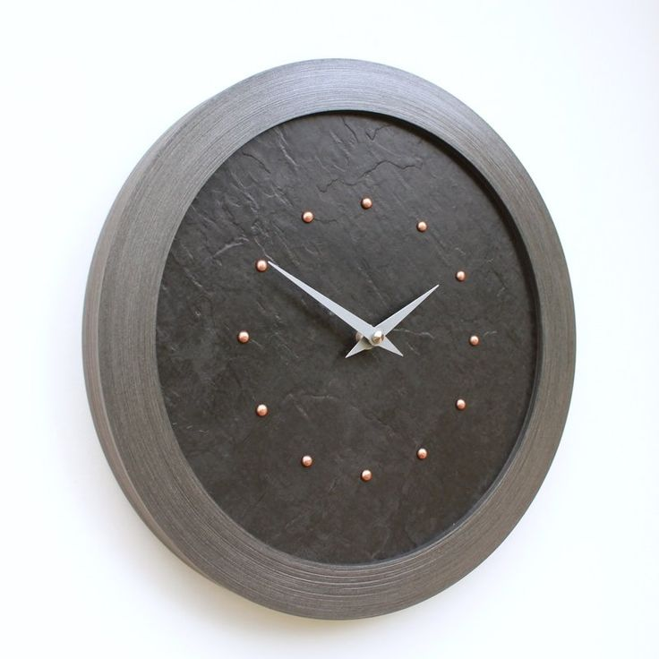 Slate Effect Wall Clock with Copper Studs and Silver Hands
