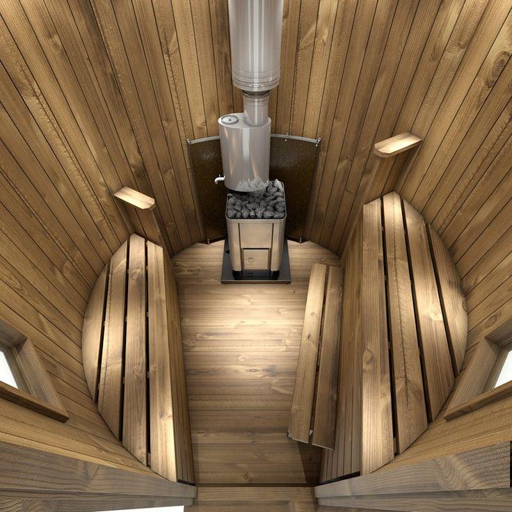 Intérieur du sauna suédois en forme de chalet