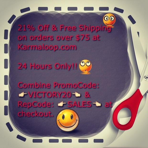 21% OFF & FREE SHIPPING ON ORDERS OVER $75 or more at KARMALOOP.com. No Restrictions: Works on ALL SALE & NEW ITEMS!! Combine RepCode: SALES & PromoCode: VICTORY20 at checkout. For more Karmaloop Codes, visit http://www.Karmaloop-Codes.com #karmaloop #discounts #coupon #freeshipping #veteran #sales