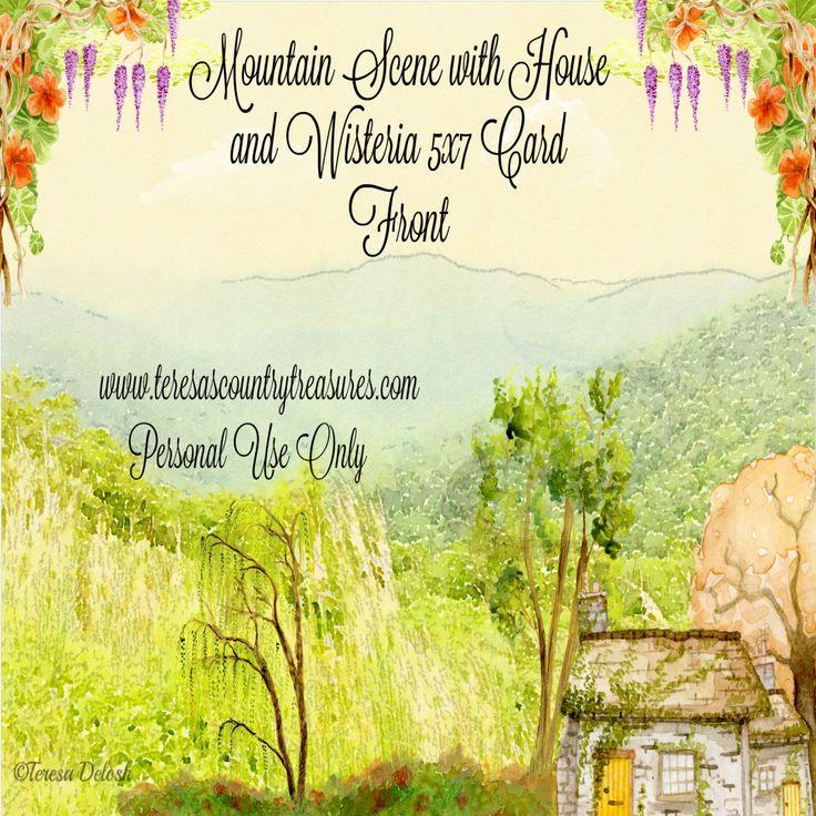 #Mountain Scene #Watercolor 5 x 7 #Photograph #Card Front #Printable