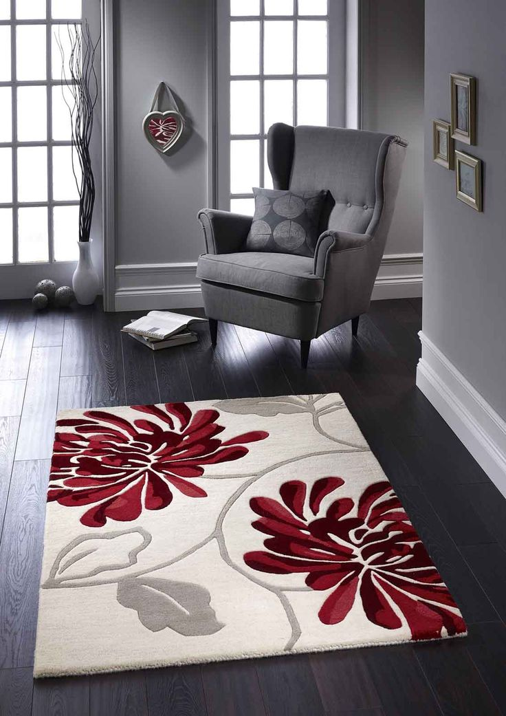 Give your décor the classic beauty of Malia floral rugs. #floralrugs #redfloralrugs  #creamfloralrugs #purewoolrugs #woolrugs #handtuftedrugs #largerugs