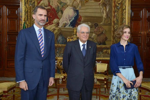 King Felipe of Spain and Queen Letizia of Spain receives President of the Italian Republic Sergio Mattarella at the Royal Palace on May 11, 2015 in Madrid, Spain.