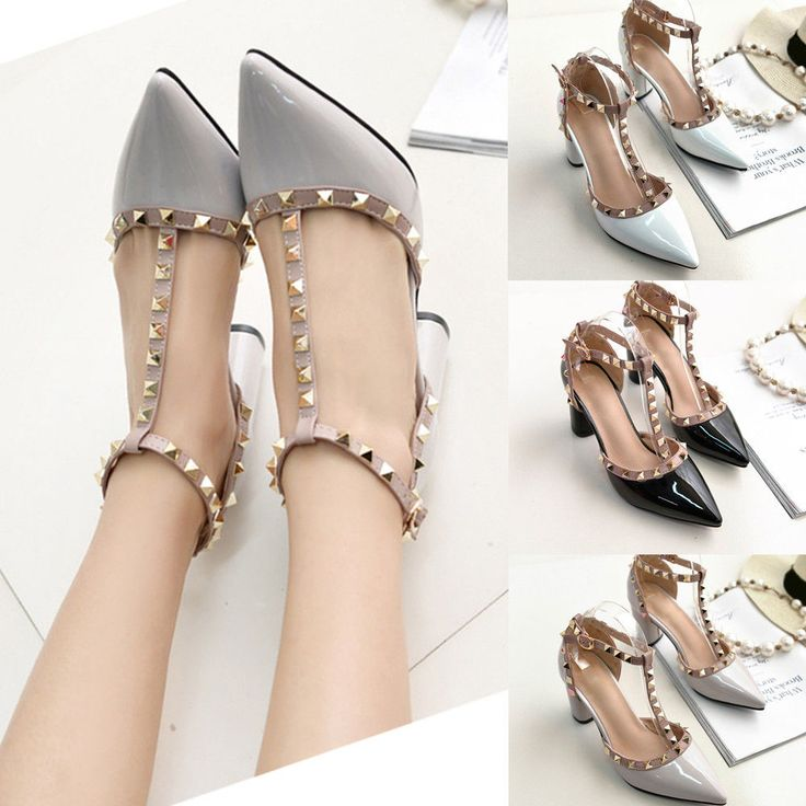Womens Studded Shoes Pointed Toe Ankle Strappy Stilettos High Heels Rivet Sandal #Unbranded #Sandals #Casual