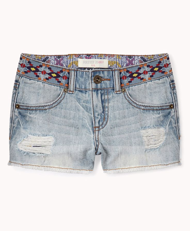 Embroidered Denim Cut Offs | FOREVER21 GIRLS What would you pair with these? #DestroyedDenim #Summer #Junior #Southwestern