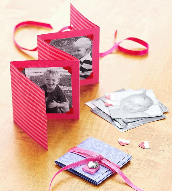 Gather inexpensive supplies--cardstock, photos, photo corners, and ribbon--for this easy-to-make card and frame combo. Cut a sheet of cardstock in half lengthwise, and tape ends together to make one long piece. Fold every 4 inches. Attach photos with photo corners. Punch a hole in the back and thread ribbon through to wrap around the booklet.