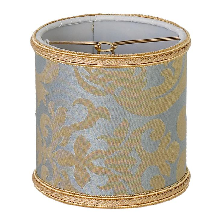 "4"" Damask Chandelier Shade in Spa Blue & gold"