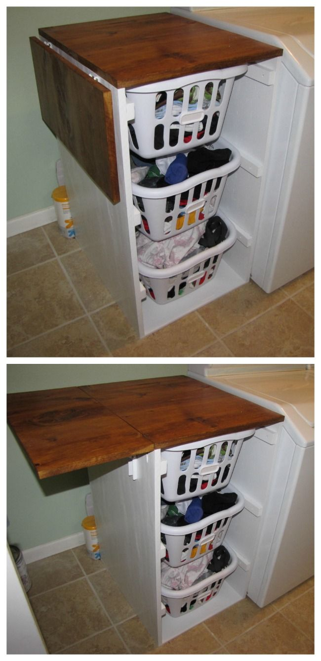 DIY - Folding top for folding! Laundry Cabinets - Shorter Brook laundry basket dresser with folding table | Do It Yourself Home Projects from Ana White
