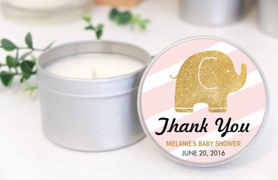 Personalised Baby Shower favours / bomboniere. Soy candle tins. Elephant Glitter Design by Mahina